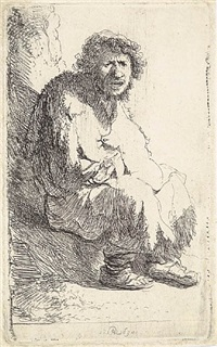 beggar seated on a bank by rembrandt van rijn