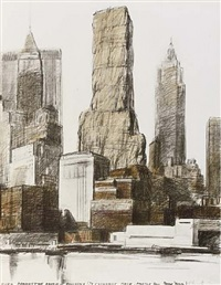 lower manhattan packed building (20 exchange place - prospect for new york) by christo and jeanne-claude