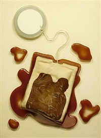 teabag from four on plexi by claes oldenburg