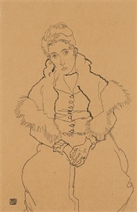 edith schiele sitting with fur boa by egon schiele