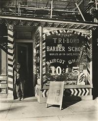 tri-boro barber school, 264 bowery by berenice abbott