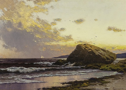 maine coastal scene by alfred thompson bricher