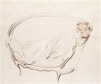 madame chéruit allongée dans son sofa by paul césar helleu
