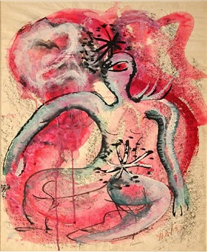untitled (red cyclops with stars) by irene rice pereira