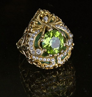 superb art nouveau ring in the moghal style by marcus & co.