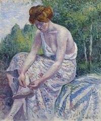 moulineux, jeune femme ôtant sa sandale by maximilien luce