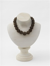 hair necklace (wood) by mona hatoum