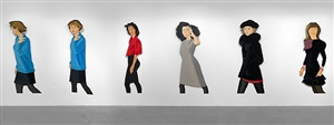 black stockings a, b, c, d, e, f by alex katz