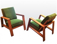 "pair of transat arm chairs/paire de fauteuils ""transat"" by jean royère"