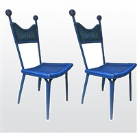 jean royere personal pair of rattan blue chairs from his beach house in brittany/paire de fauteuil personnelle de jean royere en rotin bleu de sa maison d'auray en bretagne by jean royère