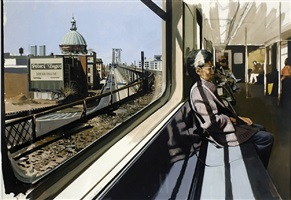 m train on route to manhattan approaches the williamsburg bridge by richard estes