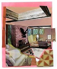 interior: fireplace with black bird by mickalene thomas