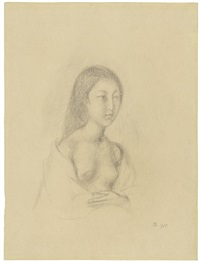 half nude of a young girl (portrait of setsuko ideta) by balthus