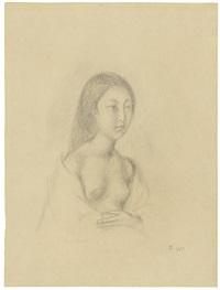 half nude of a young girl (portrait of setsuko ideta) by balthus
