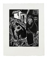 bäuerin mit kuh / woman farmer with a cow by karl schmidt-rottluff