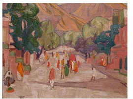 street scene in india by marguerite thompson zorach
