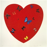 all you need is love, love, love (diamond dust) by damien hirst