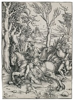 knight on horseback and the lansquenet by albrecht dürer