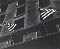 flags, fifth avenue, fourth of july, new york by ilse bing