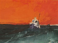 seascape, orange sky by donald hamilton fraser
