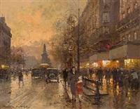 place de clichy, paris, by dusk by edouard léon cortès