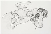 <u>reclining girl</u> from handzeichnungen by egon schiele