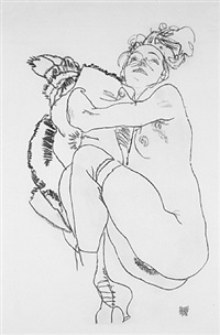 <u>reclining nude</u> from handzeichnungen by egon schiele