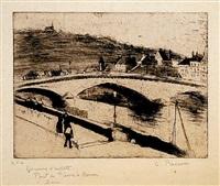 le pont de pierre, a rouen by camille pissarro