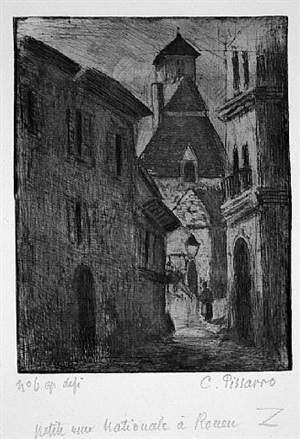 narrow street in rouen (petite rue nationale, a rouen) by camille pissarro
