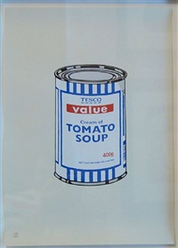 soup can original (blue and white) by banksy
