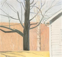 corner of bakery and tree by lois dodd