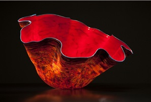 bonfire macchia with aqua lip wrap by dale chihuly