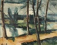 paysage de bords de seine by maurice de vlaminck