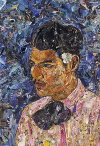 young man with a flower behind his ear, after paul gauguin (pictures of magazine 2) by vik muniz