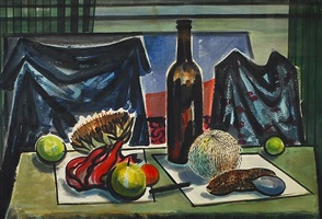 still life with fruits and bottle by michael frary