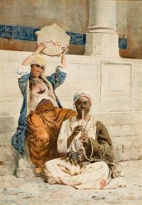 orientalist scene in istanbul by p. valeri