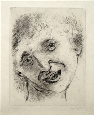 self portrait with a laughing expression by marc chagall
