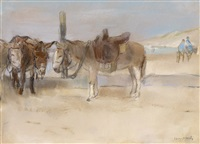 donkeys on the beach by isaac israels