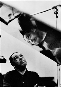 duke ellington listening to playback, los angeles, california by gordon parks