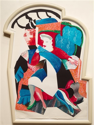 an image of celia, state ii, from the moving focus series by david hockney