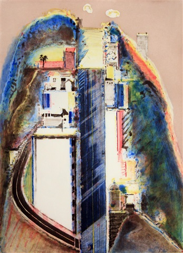 steep street (color) by wayne thiebaud