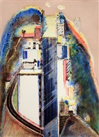steep street (color) by wayne thiebaud