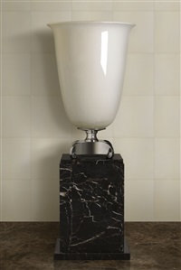 monumental porcelain & silvered bronze lamp by émile jacques ruhlmann