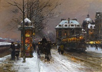 soir de neige vers l'institut de france (evening snow at the institute of france) by edouard léon cortès