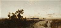 sunrise on the platte by albert bierstadt