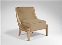 chauffeuse en sycomore à dossier arrondi et bois apparent / low chair in sycamore with a rounded back by andré arbus