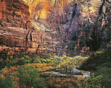 twilight, virgin river and zion canyon, utah by christopher burkett