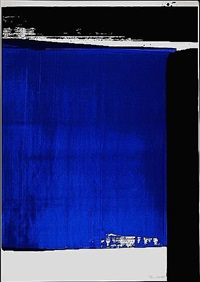 composition in blue by pierre soulages