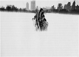 untitled (man wearing american flag in central park, new york by takayuki ogawa