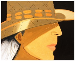 ada with straw hat by alex katz
